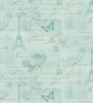 Papel pintado collage con letras y sellos agua marina grisáceo París Vintage 564615