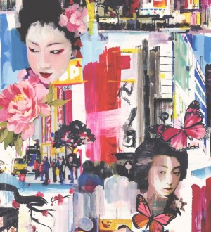 Papel pintado collage de motivos japoneses al óleo Masako 564617
