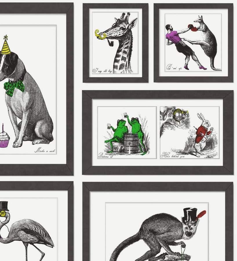 Papel pintado collage animales enmarcados Vintage Animals 564619
