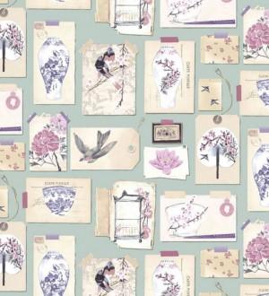 Papel pintado collage inglés de motivos orientales Hirondelle 564621