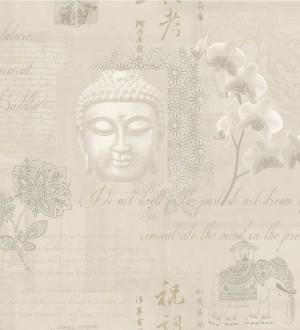 Papel pintado collage de Buda y flores de loto fondo beige pálido Darma 564632