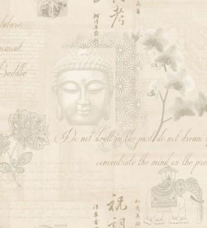 Papel pintado collage de Buda y flores de loto beige oscuro Darma 564633