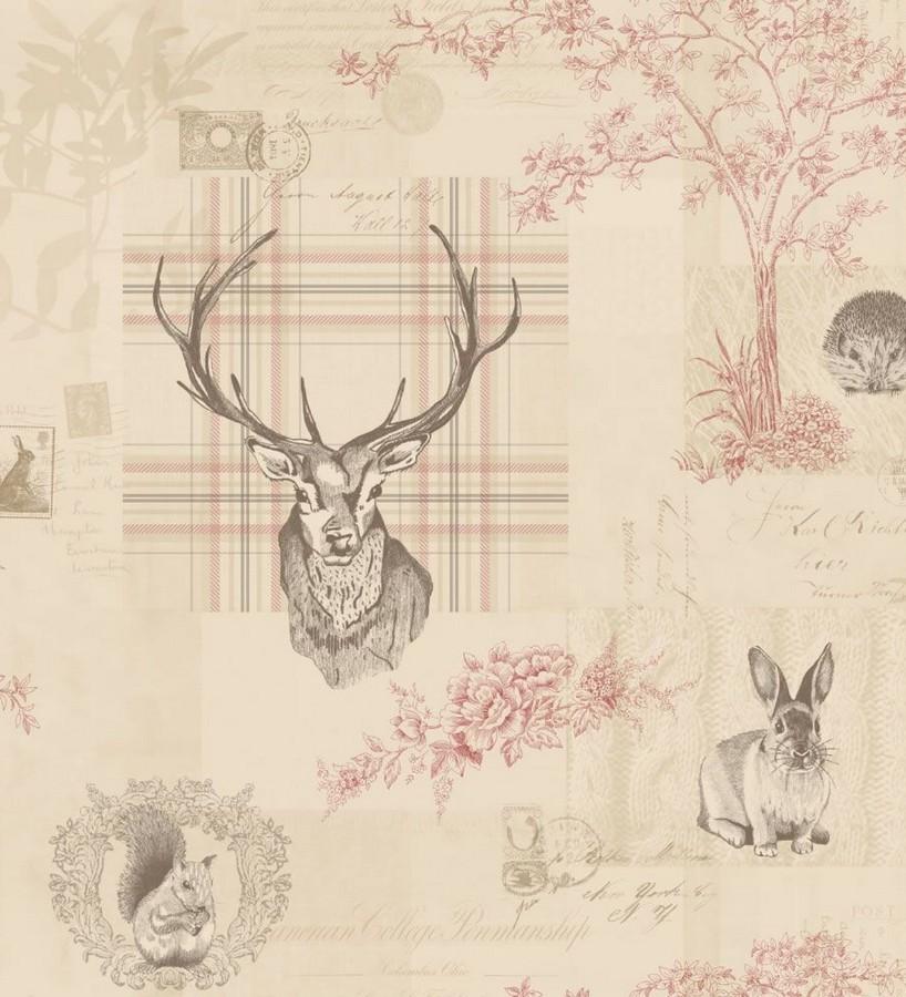 Papel pintado ciervos y animales del bosque vintage visón Bourton 564637