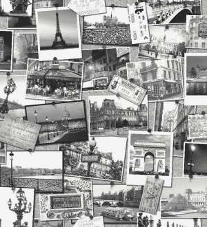 Papel pintado collage postales con monumentos de París París 2 564645