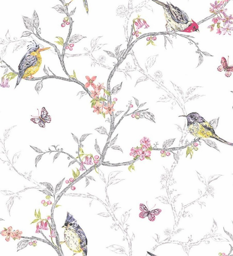 Papel pintado p jaros en ramas de rbol birdie 564683 for Papel de pared blanco