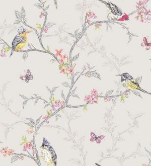 Papel pintado pájaros en ramas de árbol fondo gris claro Birdie 564684