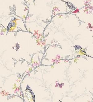 Papel pintado pájaros en ramas de árbol fondo marfil oscuro Birdie 564685