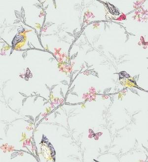 Papel pintado pájaros en ramas de árbol fondo verde agua pálido Birdie 564686