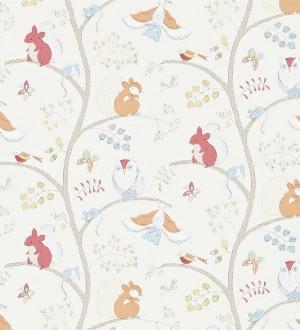 Papel pintado animalillos del bosque infantiles coral intenso Squirrels Tree 564923