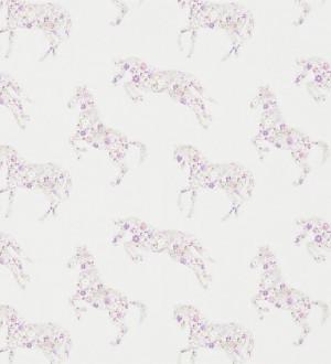 Papel pintado caballos patchwork de flores fondo beige claro Horses Florals 564939
