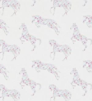 Papel pintado caballos patchwork de flores fondo blanco roto Horses Florals 564941
