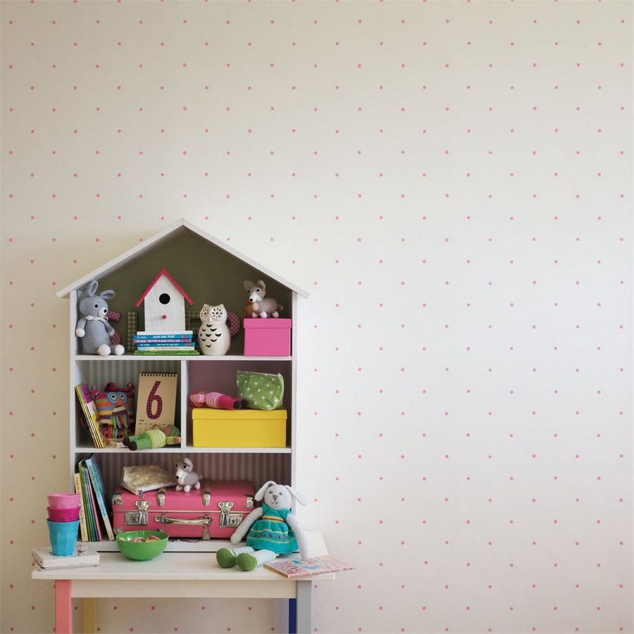Papel pintado lunares de acuarela rosa claro fondo blanco roto Candy Dots 564954