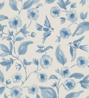Papel pintado flores y pájaros de acuarela estilo inglés Claudine 564995