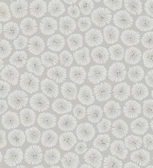 Papel pintado flores pequeñas modernas blanco fondo gris claro Nicolette 565061