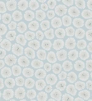 Papel pintado flores pequeñas modernas fondo celeste aguamarina Nicolette 565062