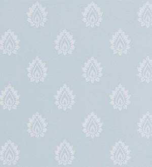 Papel pintado damasco pequeño francés fondo celeste claro pálido Poitiers 565150