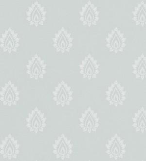 Papel pintado damasco pequeño francés fondo agua marina grisáceo Poitiers 565153