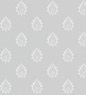Papel pintado damasco pequeño francés gris claro fondo gris Poitiers 565154