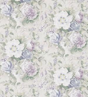 Papel pintado flores románticas al óleo vintage malva Estefanía 565181