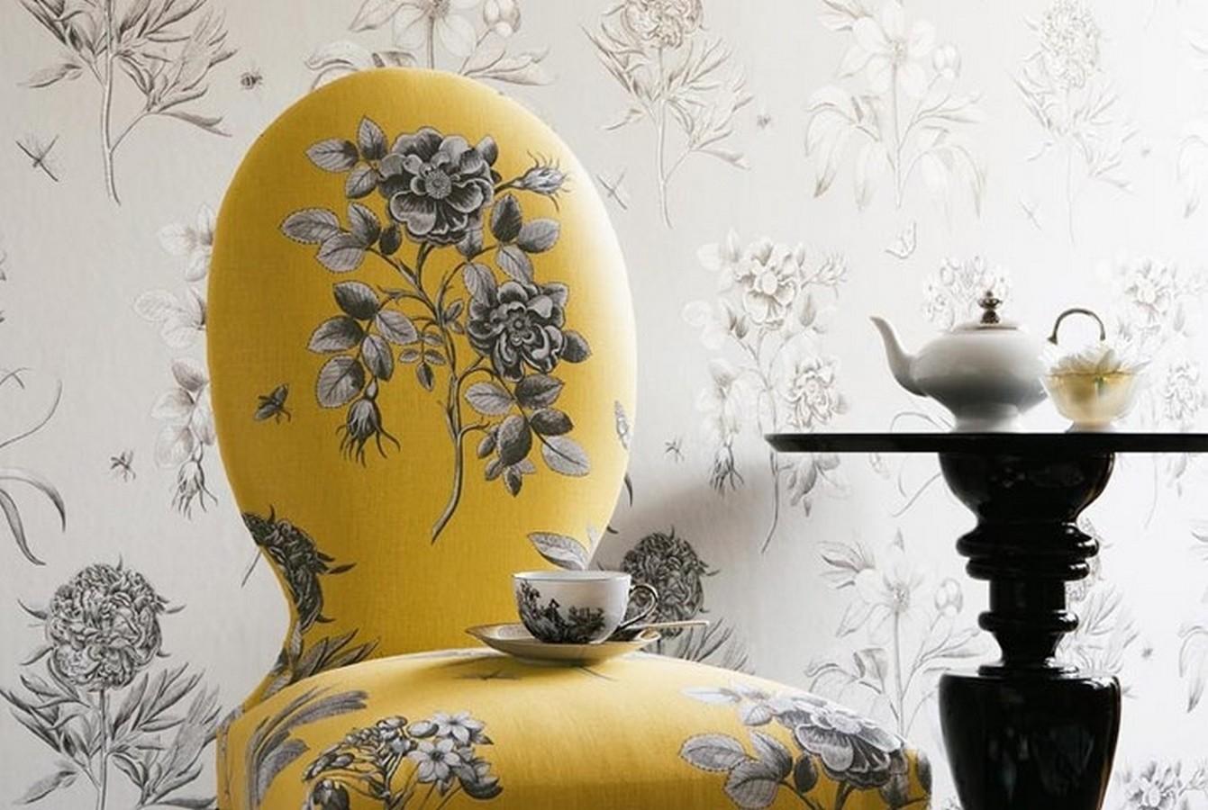 Papel pintado flores grandes artísticas vintage Hanna 565309