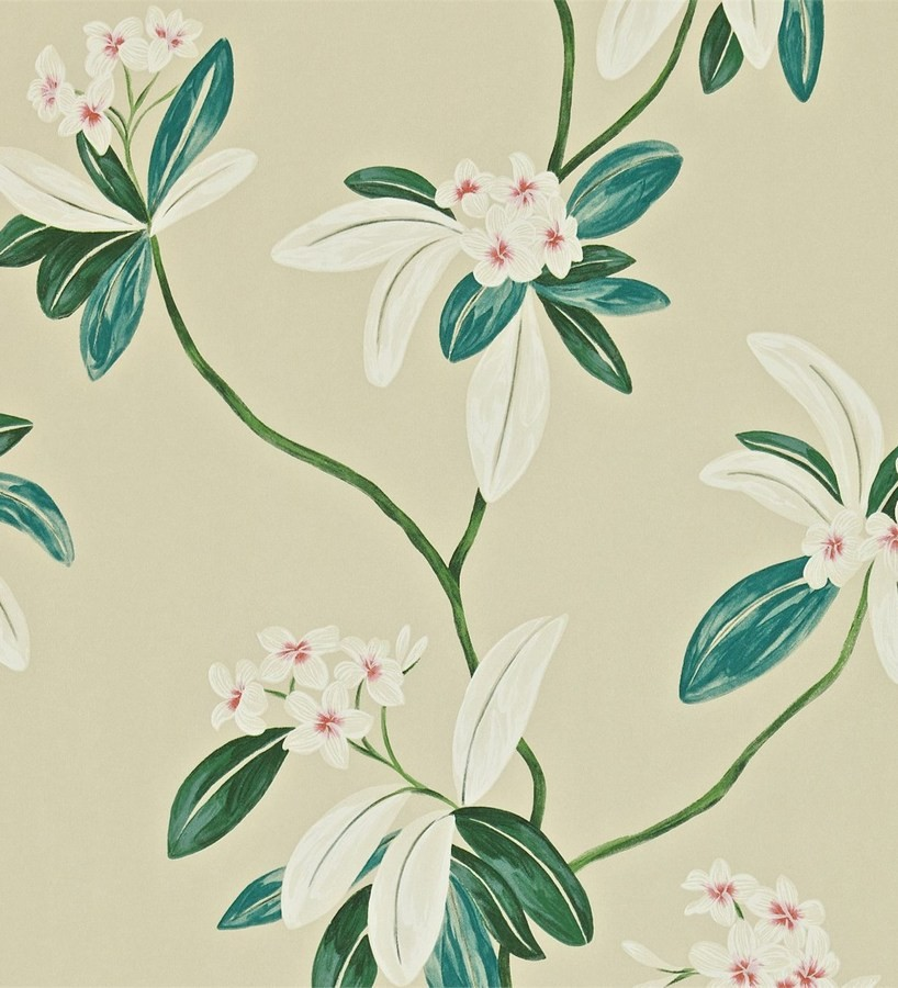Papel pintado flores y hojas delgadas vintage al óleo Givanna 565356