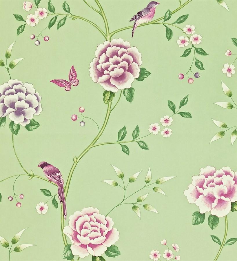 Papel pintado flores con pájaros y mariposas románticas Jacqueline 565373