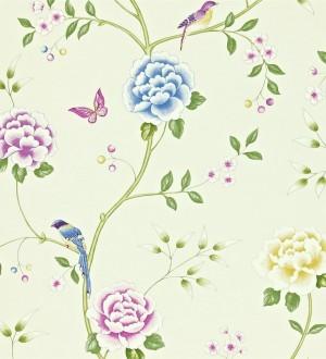 Papel pintado flores con pájaros y mariposas románticas Jacqueline 565375