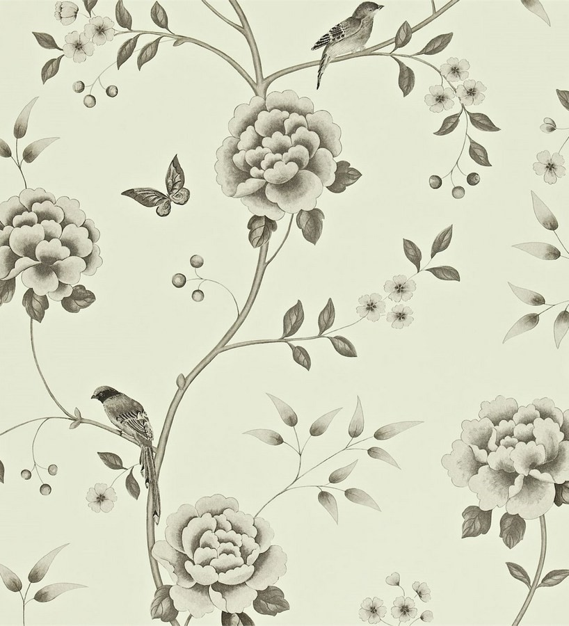 Papel pintado flores con pájaros y mariposas románticas Jacqueline 565376