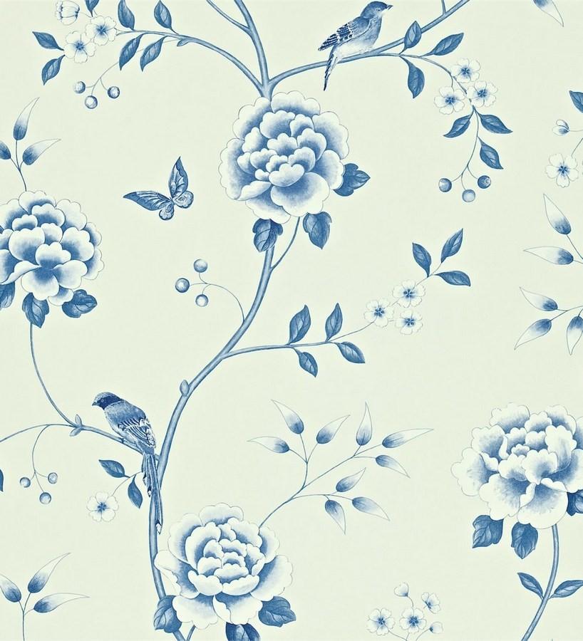 Papel pintado flores con pájaros y mariposas románticas Jacqueline 565378