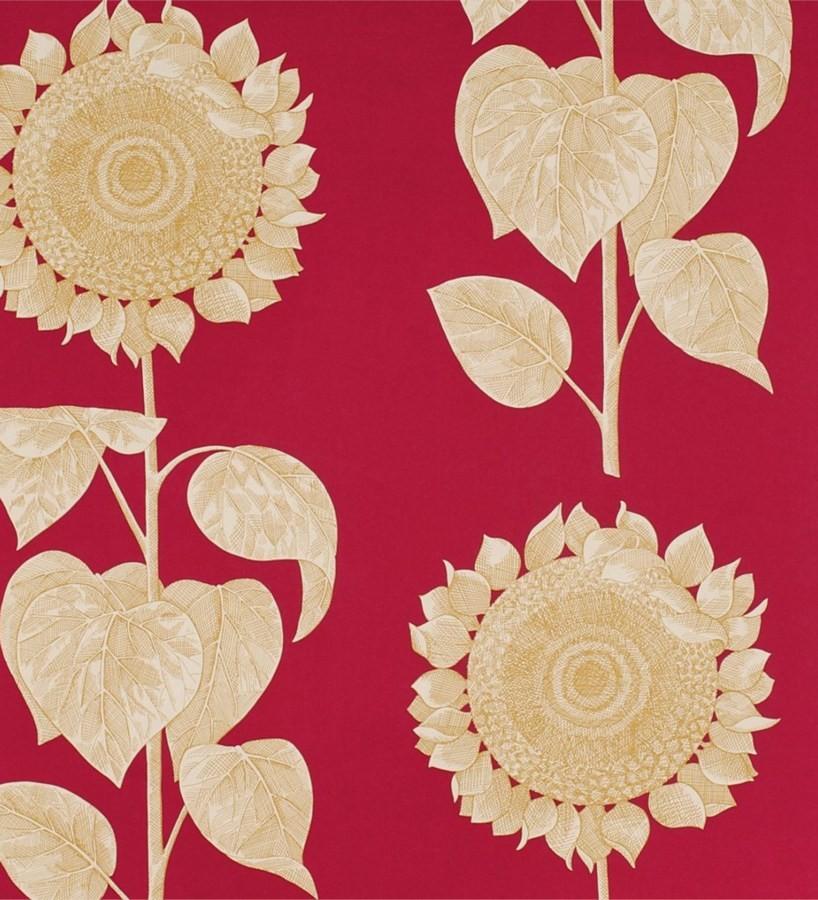 Papel pintado girasoles y hojas grandes inspiración inglesa Betina 565439