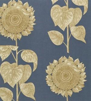 Papel pintado girasoles y hojas grandes inspiración inglesa Betina 565440