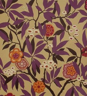 Papel pintado flores y hojas vintage modernas Vidonia 565442