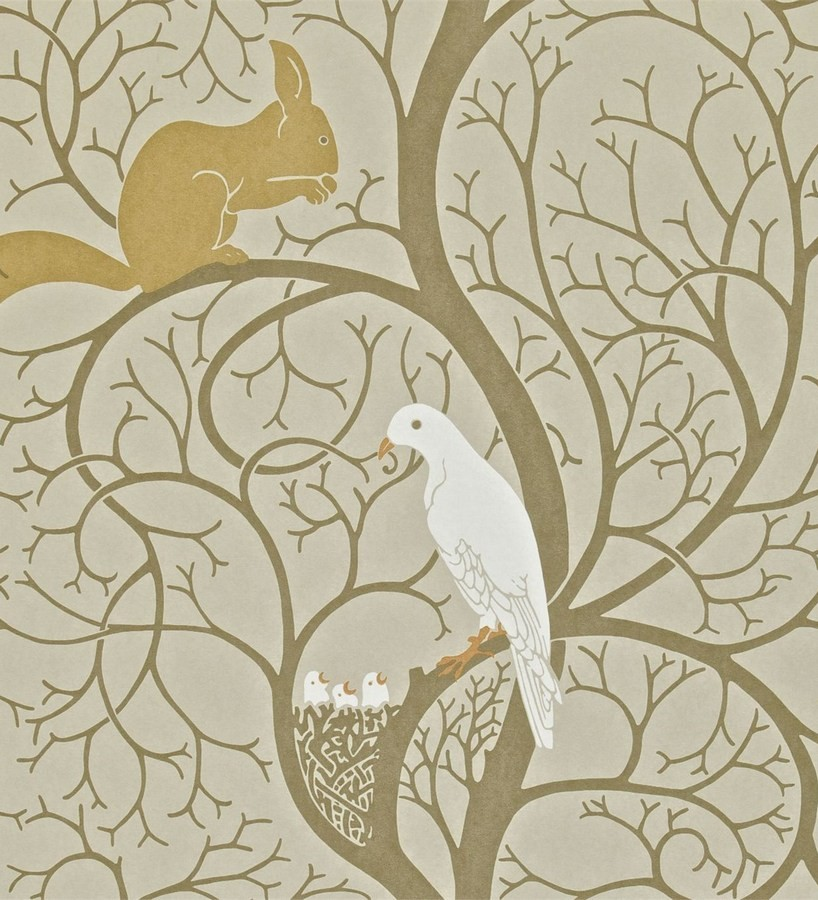 Papel pintado ardillas y pájaros en árbol estilo inglés Nordic Birds 565454