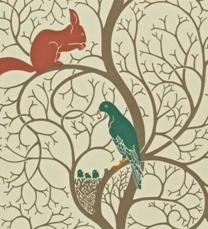 Papel pintado ardillas y pájaros en árbol estilo inglés Nordic Birds 565455
