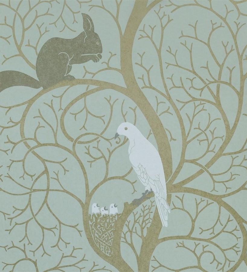 Papel pintado ardillas y pájaros en árbol estilo inglés Nordic Birds 565456