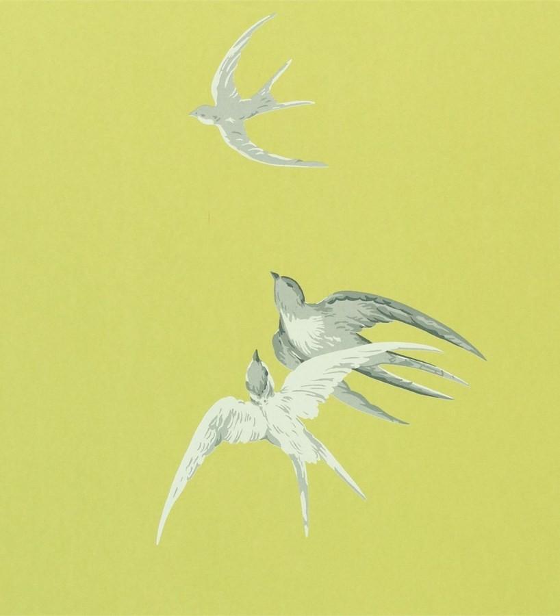 Papel pintado golondrinas artísticas al óleo vintage Portobello 565457