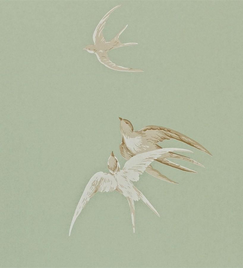 Papel pintado golondrinas artísticas al óleo vintage Portobello 565458