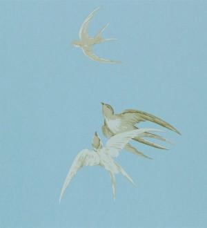 Papel pintado golondrinas artísticas al óleo vintage Portobello 565459