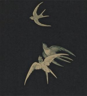 Papel pintado golondrinas artísticas al óleo vintage Portobello 565461