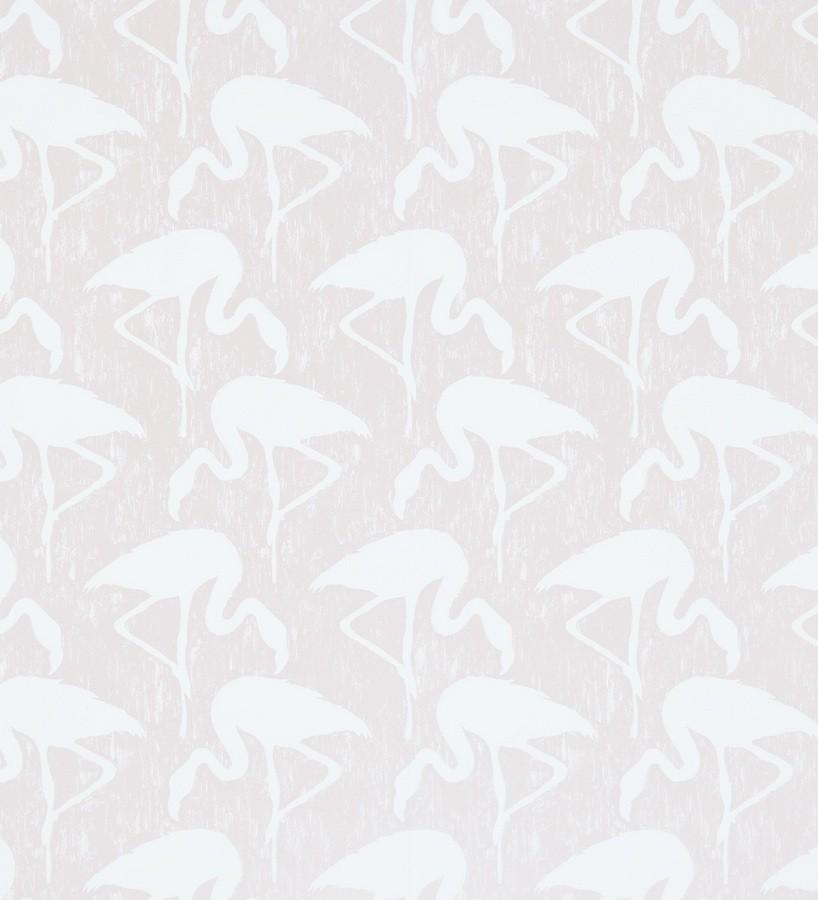 Papel pintado flamencos vintage blanco roto fondo rosa claro Flamant 565464