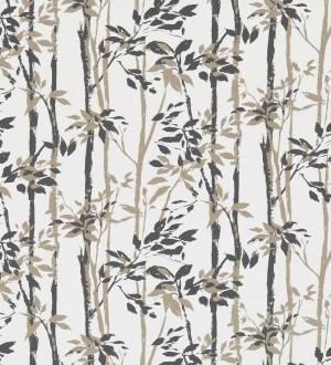 Papel pintado hojas y troncos de bambú japonés gris oscuro Cevenas 565468