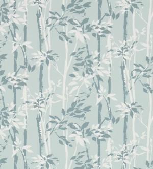 Papel pintado hojas y troncos de bambú japonés gris plomo Cevenas 565469