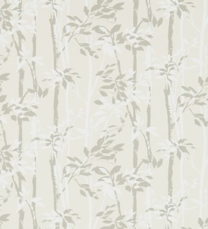Papel pintado hojas y troncos de bambú japonés gris visón Cevenas 565470