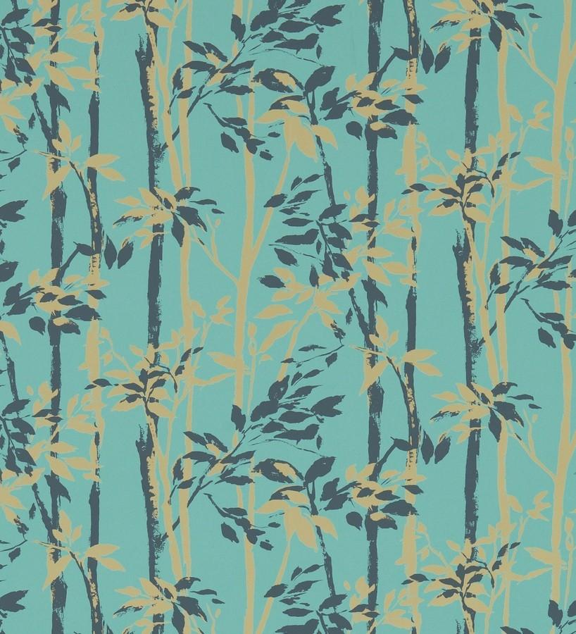 Papel pintado hojas y troncos de bambú japonés gris oscuro Cevenas 565471