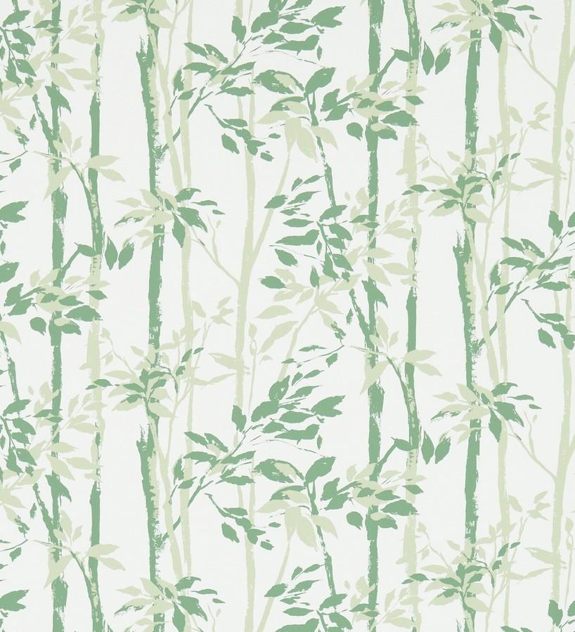 Papel pintado hojas y troncos de bambú japonés verde murano Cevenas 565473