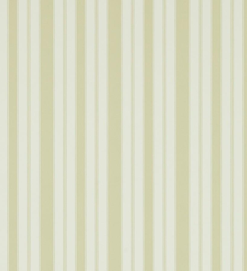 Papel pintado rayas clásicas beige claro fondo verde pera Raya Flamant 565474
