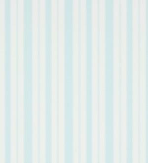 Papel pintado rayas clásicas celeste claro pálido fondo blanco roto Raya Flamant 565475