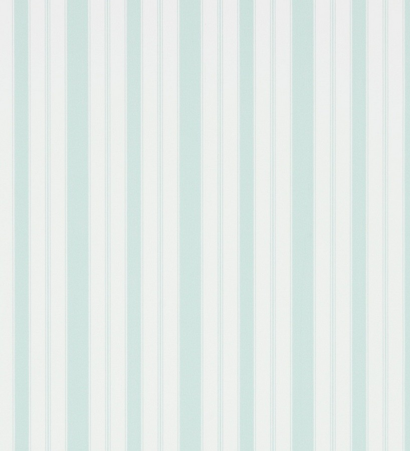 Papel pintado rayas clásicas agua marina pálido fondo blanco roto Raya Flamant 565476