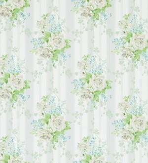 Papel pintado flores vintage románticas con fondo a rayas Amaranta 565480