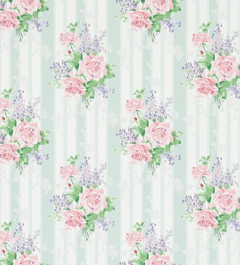 Papel pintado flores vintage románticas con fondo a rayas Amaranta 565481